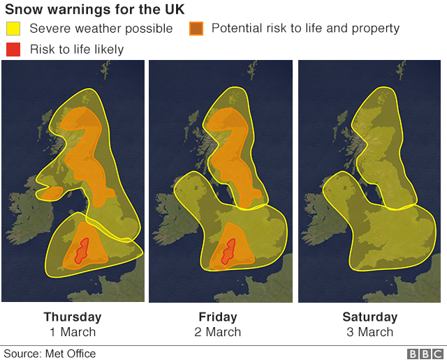 Maps showing snow warnings
