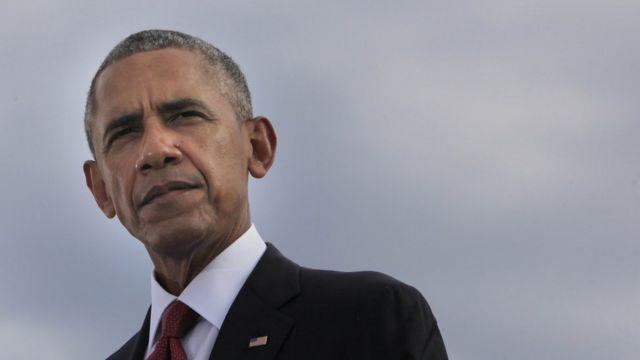 Barack Obama lors de la minute de silence à l'occasion du 15e anniversaire des attentats du 11 septembre.