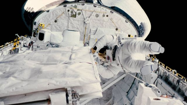 Dr Sullivan during a space walk from the shuttle Challenger in 1984