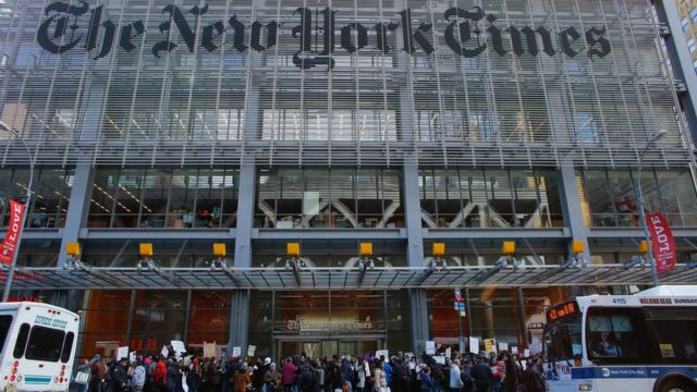 Protesters outside the New York Times