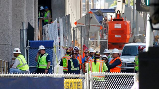 Worker dies after falling 53 storeys at Los Angeles building site