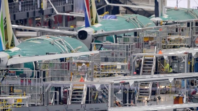 A 737 MAX production line inside the Boeing factory is pictured on December 16, 2019 in Renton, Washington