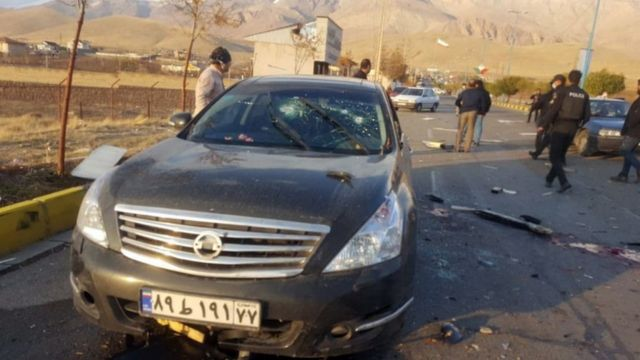 The car in which Mohsen Fakhrizadeh was murdered in November 2020.