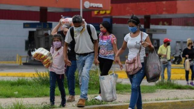 Venezuelan family walking