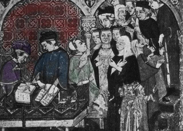 Banqueros italianos medievales contando sus bienes y atendiendo gente