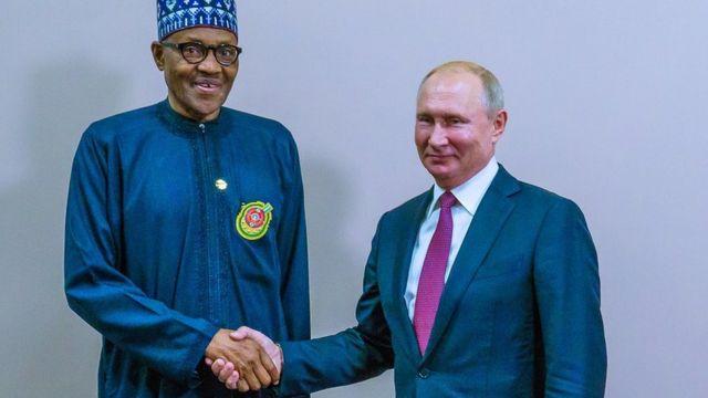 Muhammadu Buhari (left) and Vladimir Putin (Right)