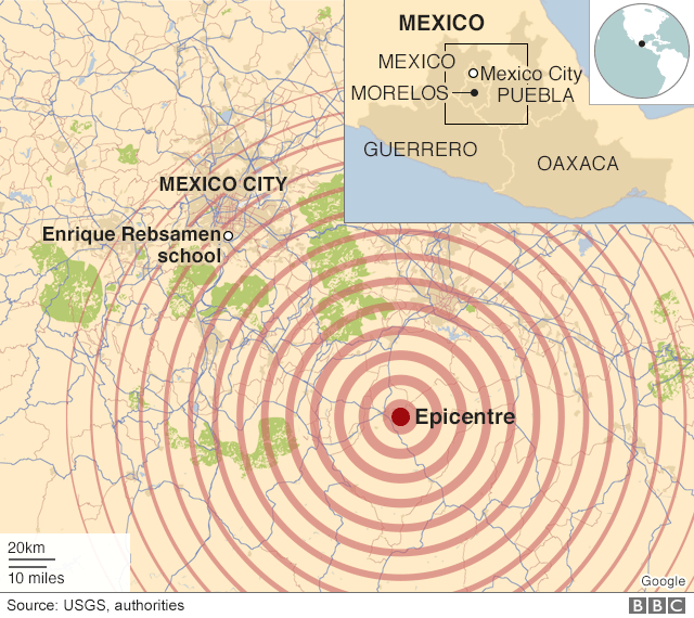 A map shows the extent of the earthquake's reach in central Mexico