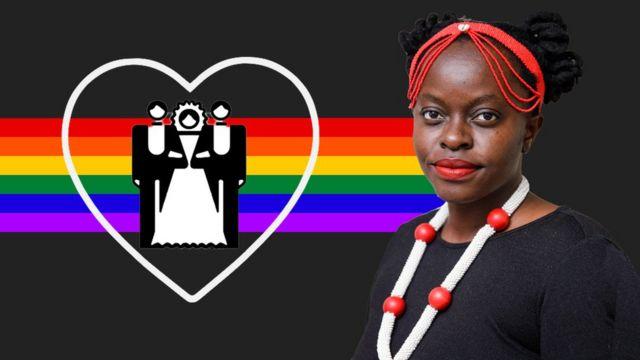 Muvumbi Ndzalama con una pancarta LGBT detrás y un símbolo de corazón con una ilustración de una mujer con dos hombres a cada lado