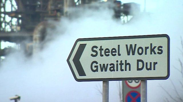 Steel works sign post