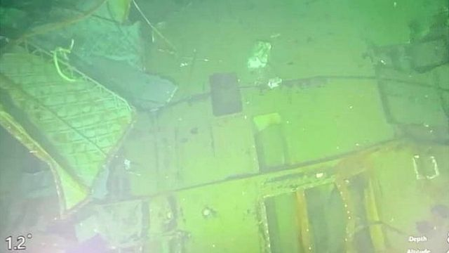 Video recorded from a submersible rescue vehicle of the Indonesian Navy submarine KRI Nanggala during a press conference in Bali, Indonesia, 25 April 2021