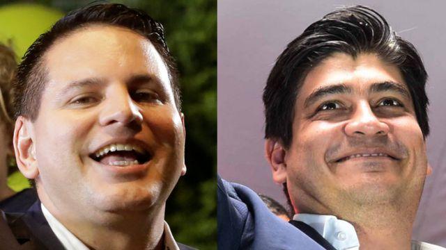 Fabricio Alvarado, del Partido Restauración Nacional (izquierda), y Carlos Alvarado, del oficialista Partido Acción Ciudadana.