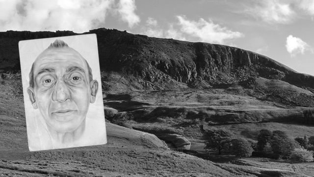 Dove Stone, Peak District - and artist impression of unidentified man.
