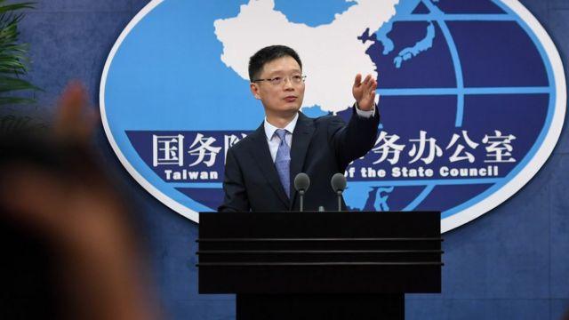 """中國國台辦發言人安峰山批評,民進黨的指控是""""政治操弄手法""""。"""