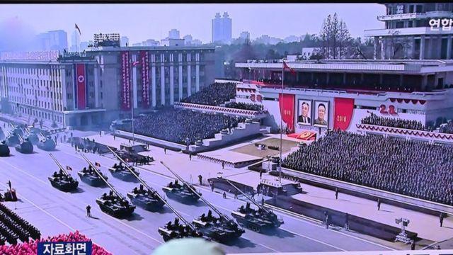Телевизинная трансляция военного парада в Северной Корее в Корее Южной