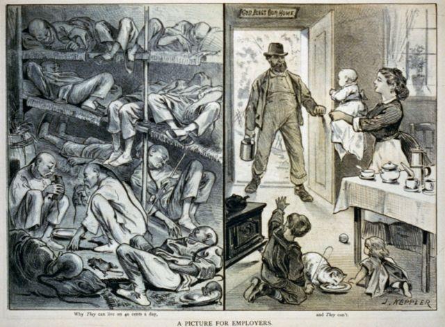 Карикатура конца XIX века, изображающая курильщиков опиума, поедающих крыс