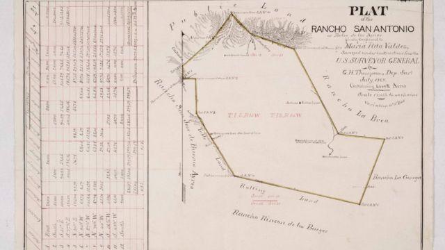 Map of the Rancho Rodeo de las Aguas, year 1868.