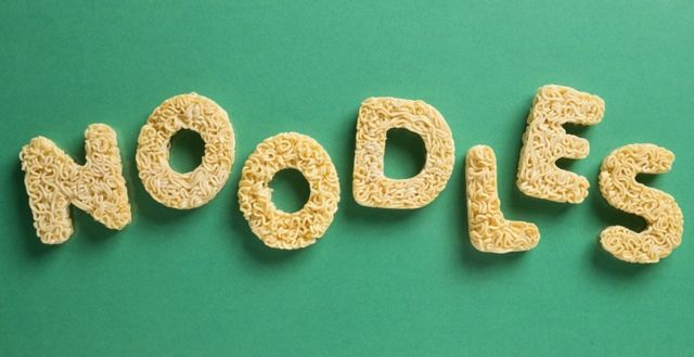 Noodle word writen with noodle letters