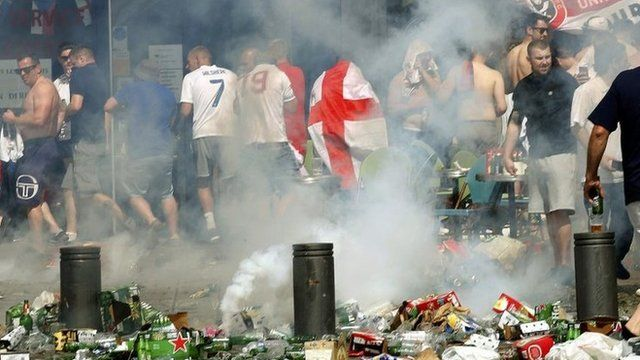 England fans in Marseille amid a cloud of tear gas