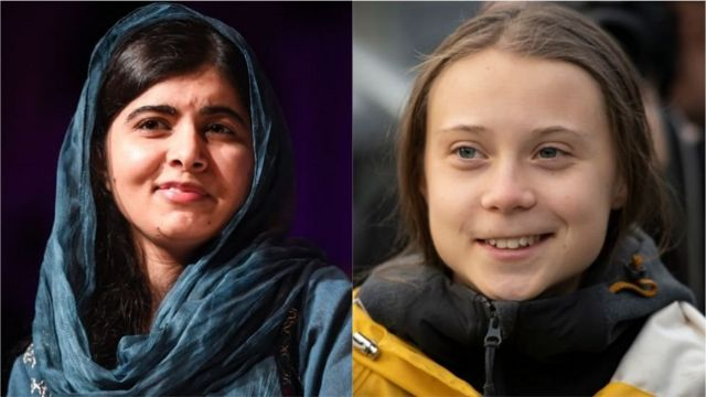 Photo collage showing Malala Yousafzai and Greta Thunberg