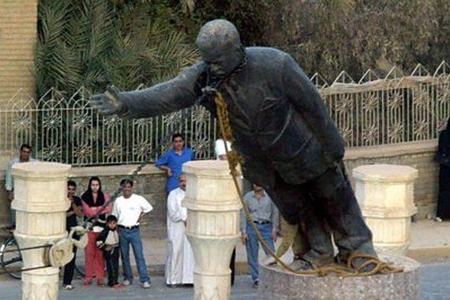 Saddam Hussein's statue in Baghdad