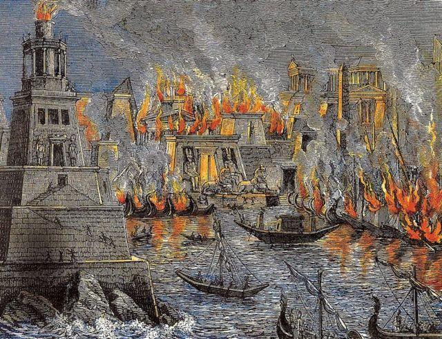 Biblioteca de Alejandría en llamas