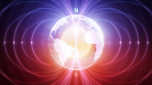 Ilustração da Terra com seus campos magnéticos