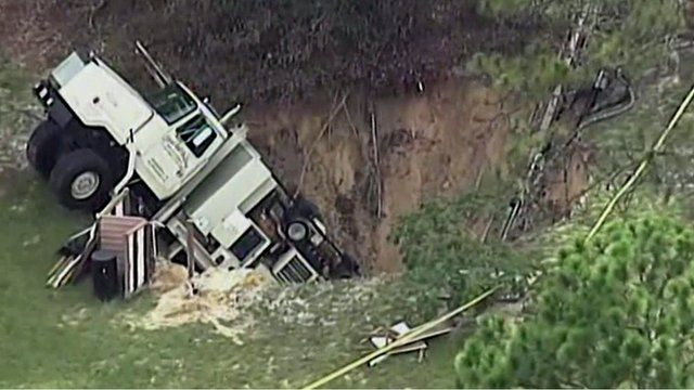 Sinkhole In Citrus County Florida Swallows Half Of A Truck