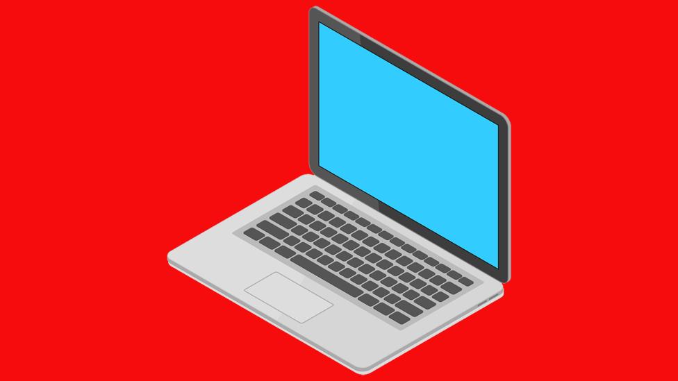 Ilustração de laptop sobre um fundo vermelho