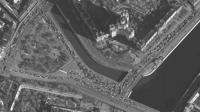 Atasco de tránsito en Moscú, Rusia.
