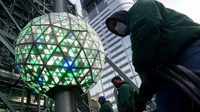 La bola de Times Square en Nueva York.