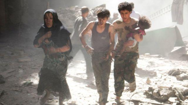 صورة لدمار في مدينة حلب