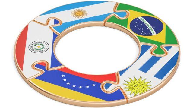 Ilustração mostra anel com bandeiras dos países membros do Mercosul