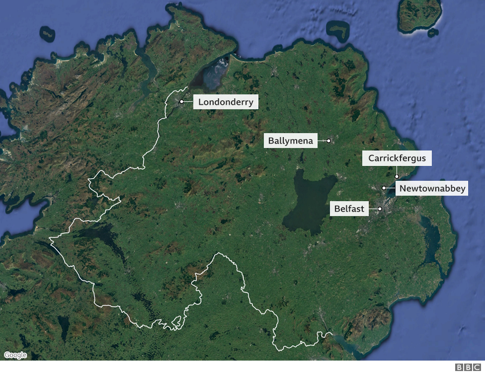 Map of Northern Ireland showing places of unrest