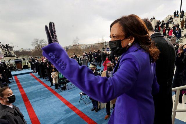 Vice President-elect Kamala Harris waves to the crowd