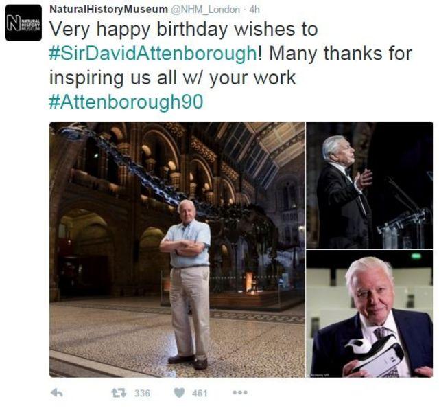 伦敦的英国自然历史博物馆向艾登堡爵士致以生日祝福。