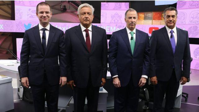 Candidatos à Presidência do México: Ricardo Anaya, Andres Manuel Lopez Obrador, Jose Antonio Meade e Jaime Rodriguez Calderon, no terceiro e último debate televisivo