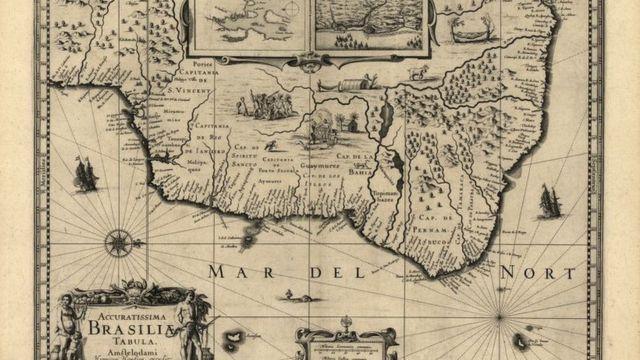 Mapa do Brasil mostra capitanias em 1630