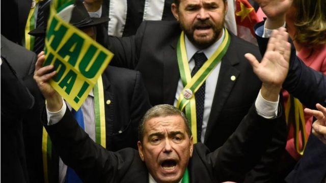 Brazilian lawmakers cheer in parliament. Photo: 17 April 2016