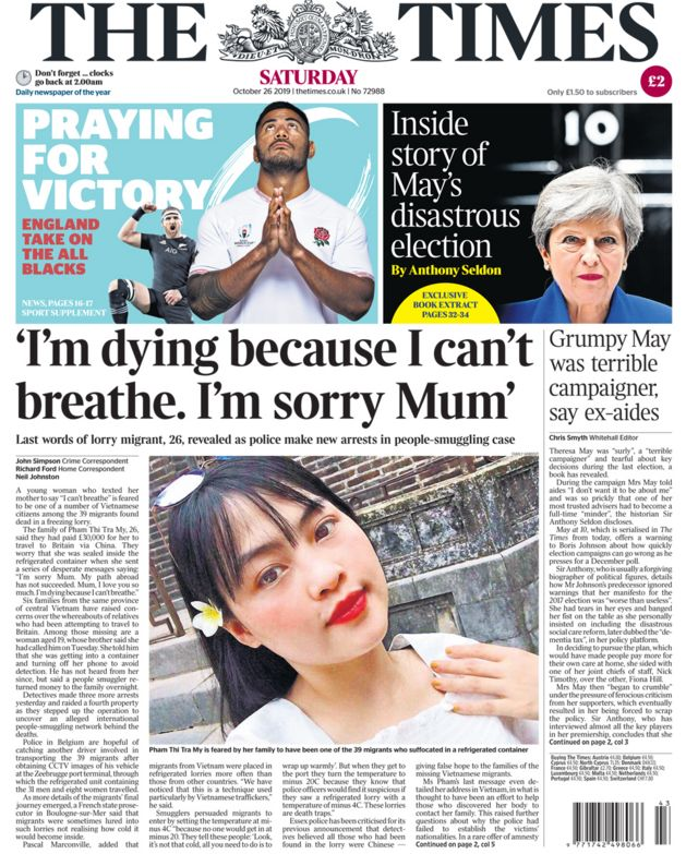 Saturday's Times front page