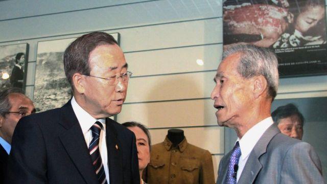 Sumiteru Taniguchi con el secretario general de la ONU, Ban Ki Moon, en 2010