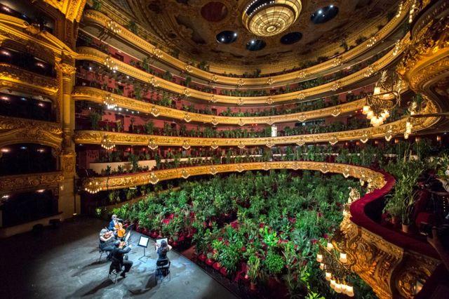 बार्सिलोनामा लिसिउ ओपरा हाउसमा दर्शकदीर्घामा बोटविरुवा राखेर साङ्गीतिक कार्यक्रम प्रस्तुत गर्दै कलाकारहरू