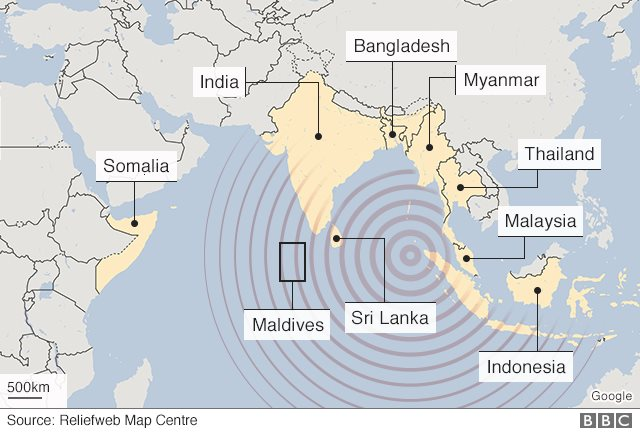 Map of 2004 tsunami