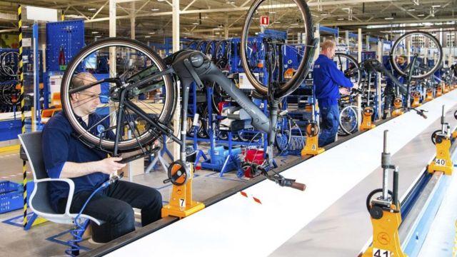 Fábrica de bicicletas en Países Bajos.