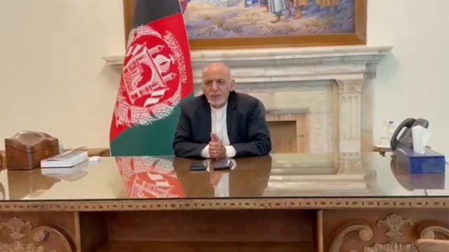 Ashraf Ghani appears in a Facebook video, 15 August 2021