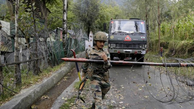 An Indian army soldier , military base in Uri, kashmir, india