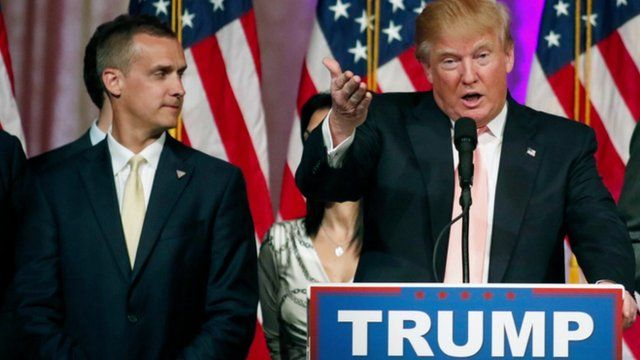 Corey Lewandowski (l) and Donald Trump
