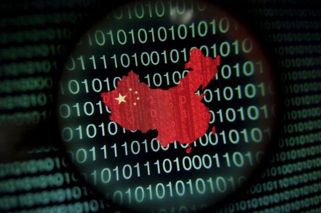 Mapa da China sobre sequência binária