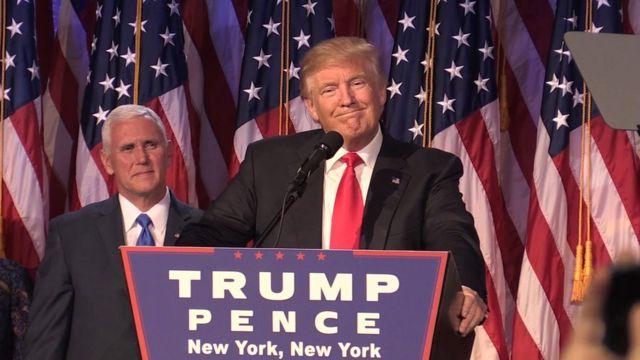 Donald Trump en su discurso de victoria electoral