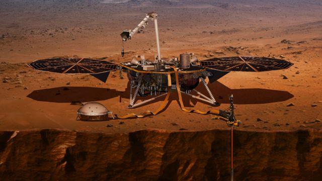 Ilustración de InSight desplegando sus instrumentos sobre la superficie de Marte