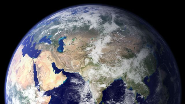 Picture of Earth showing North Africa, Middle East, most of Asia, part of Russia, China and the Indian Ocean